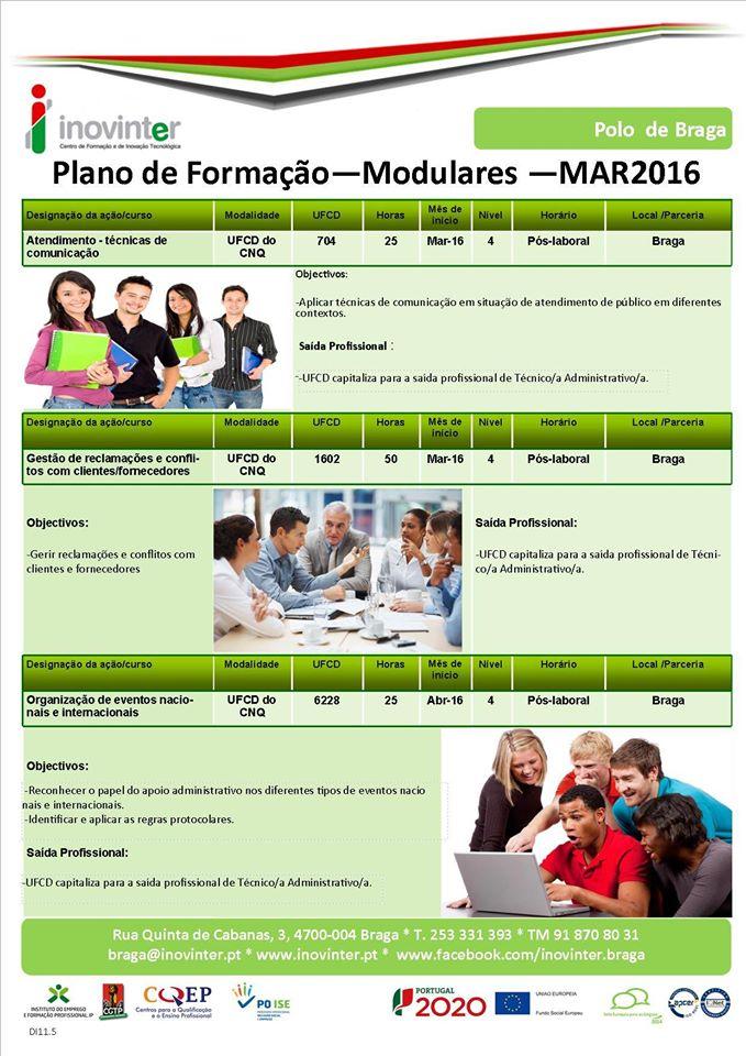 Formações modulares Nível IV em Braga (a iniciar em Março / Abril de 2016)