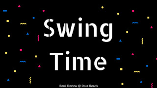 Swing Time title image with white writing against black background with colourful geometric shapes