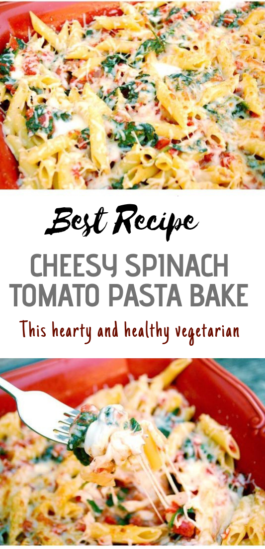 CHEESY SPINACH TOMATO PASTA BAKE #vegan #recipevegetarian