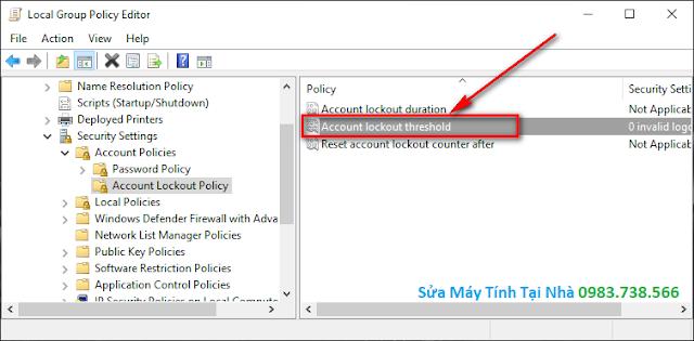 Giới hạn số lần nhập sai mật khẩu đăng nhập Windows