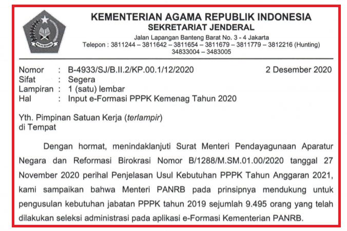 gambar surat edaran sekjen kemenag tentang pppk 2021