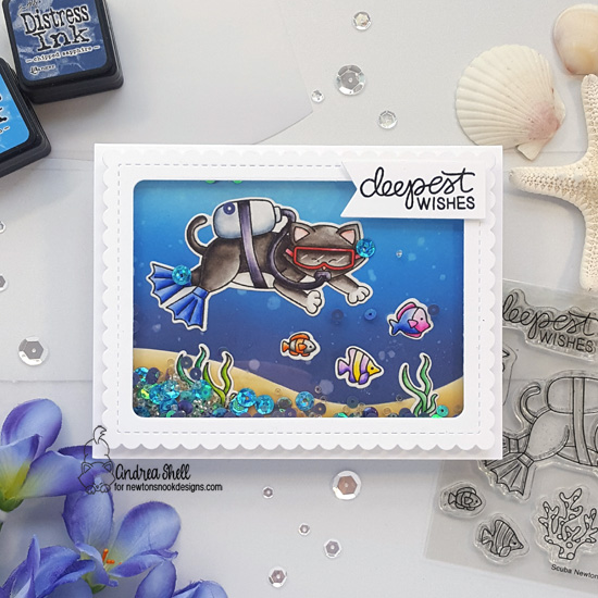 Scuba Diving Cat Card by Andrea Shell | Scuba Newton Stamp Set and Frames & Flags Die Set by Newton's Nook Designs #newtonsnook #handmade