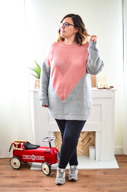Jersey oversize rosa y gris