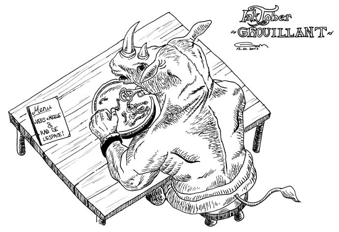inktober grouillant rhinocéros