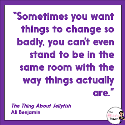 In The Thing About Jellyfish by Ali Benjamin, Suzy struggles to accept that death of her best friend Franny was just an unfortunate accident, and her feelings about her friend are further complicated by the rift that grew in their relationship before Franny's death. This book is perfect for budding scientists, but also just your average middle school student trying to fit in. Read on for more of my review and ideas for classroom use.