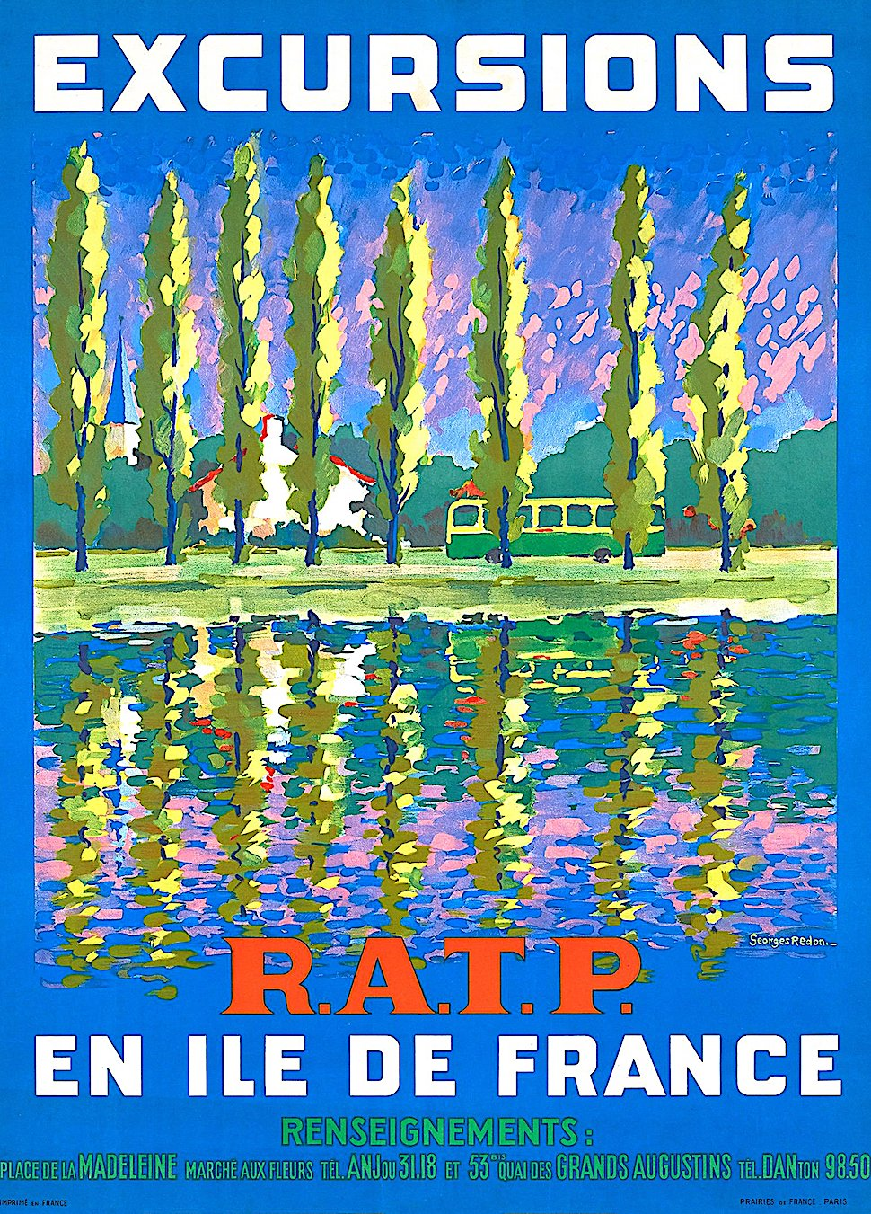 a Georges Redon 1958 travel poster for French bus excursions, R.A.T.P en ile de France, colorful trees