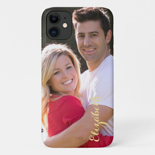 DIY Create Custom Photo Gold Text Stylish Slim Fit iPhone Case