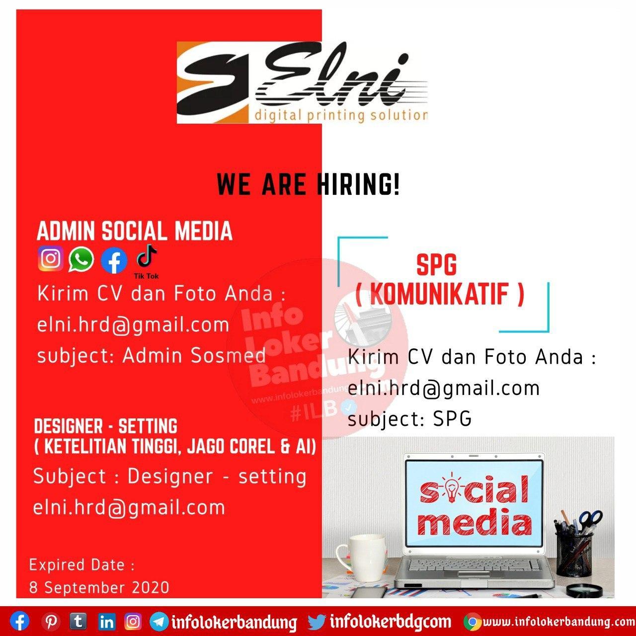 Lowongan Kerja PT. Elni Digital Printing Bandung September 2020