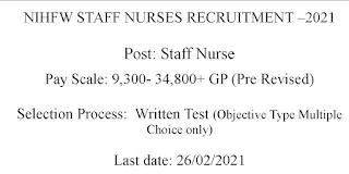 Staff Nurse Jobs in NIHFW