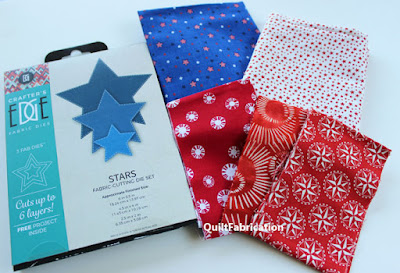 red white and blue fabrics with star cutting dies