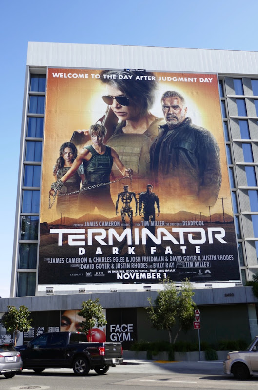 Giant Terminator Dark Fate film billboard
