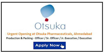 Urgent Job openings for Production & Packing @ Otsuka Pharmaceuticals
