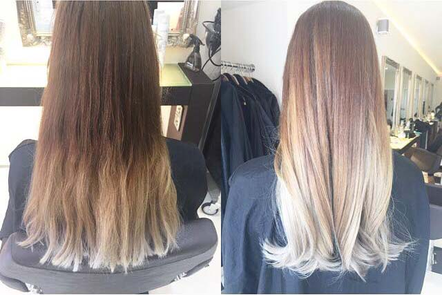 Hairven beeston before after balayage