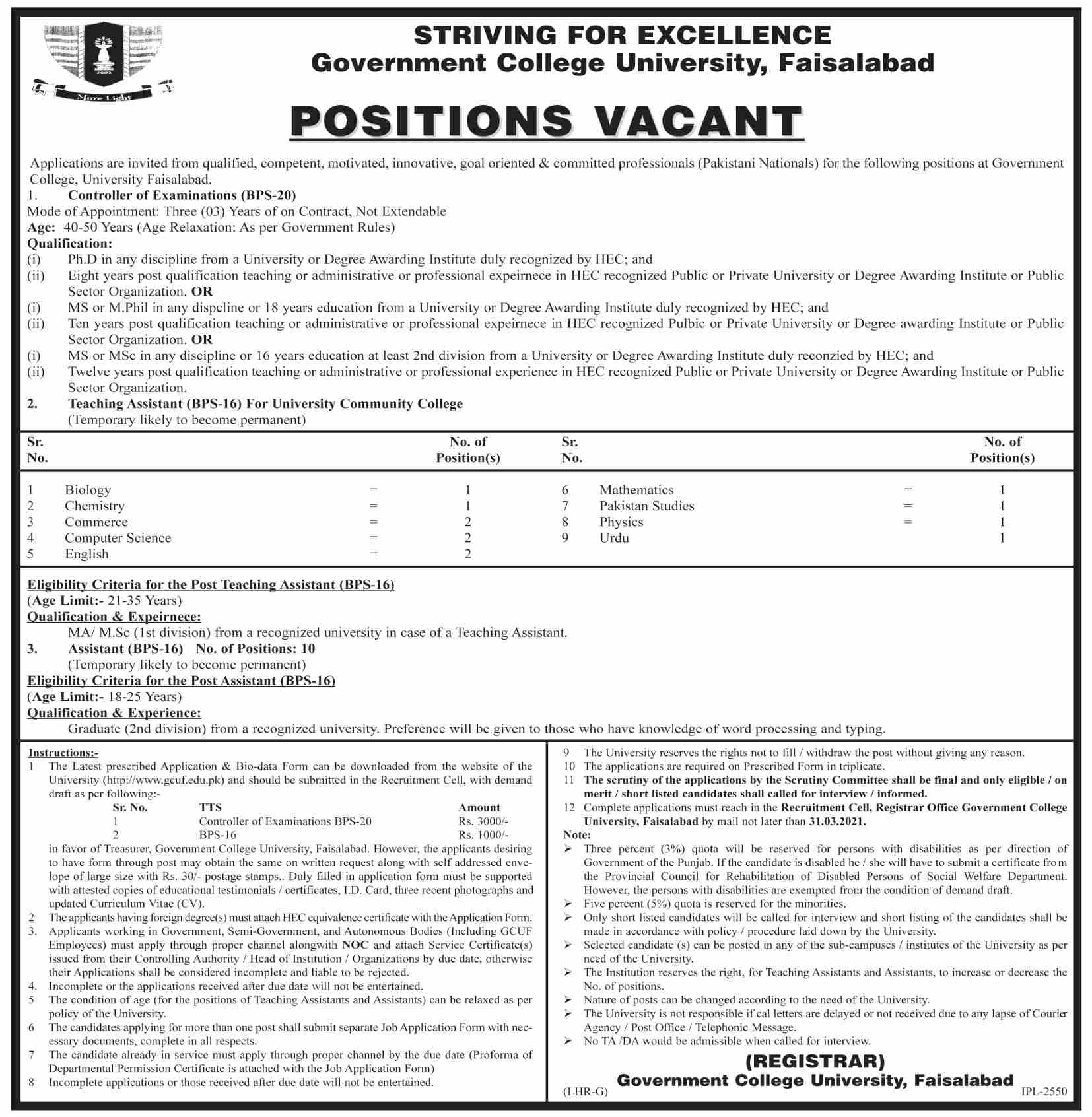 GCUF Jobs 2021 - GC Uni Jobs 2021 - GC University Fsd Jobs 2021 - GC University Faisalabad Job Vacancy - Government College University Faisalabad Jobs 2021