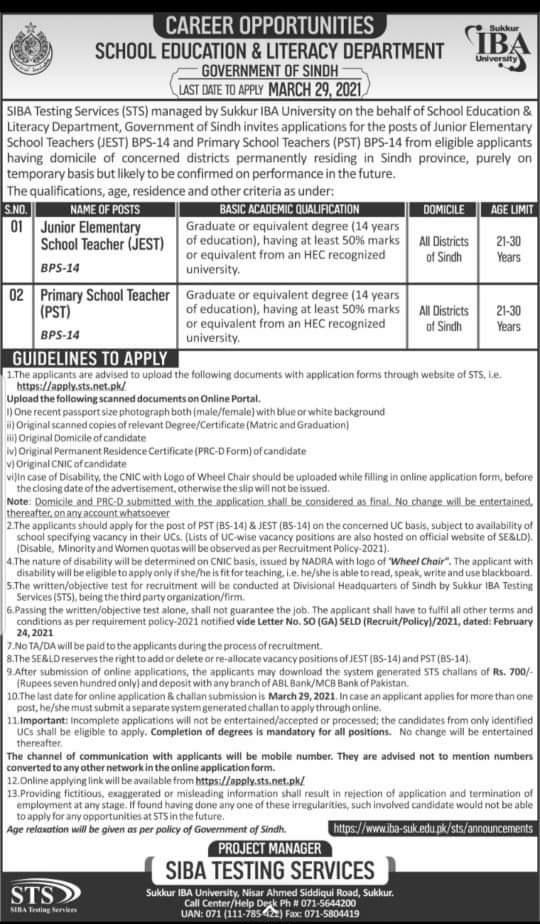 Junior Elementary School Teacher (JEST) & Primary School Teacher (PST) in Sindh Education & Literacy Department Jobs 2021