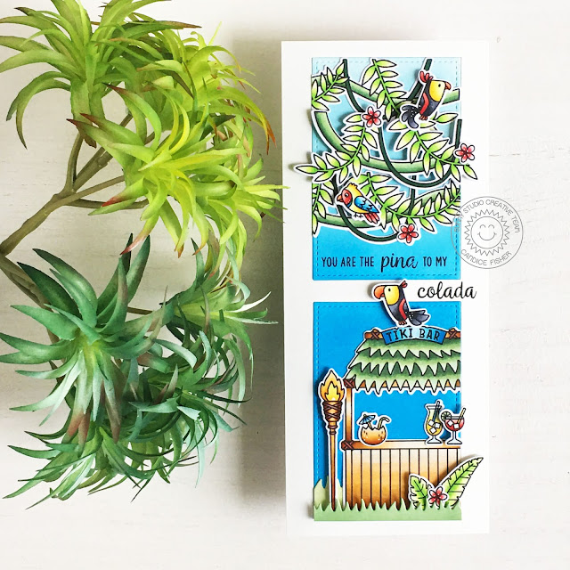 Sunny Studio Stamps: Stitched Rectangle Dies Tropical Scenes Tiki Time Outback Critters Card by Candice Fisher