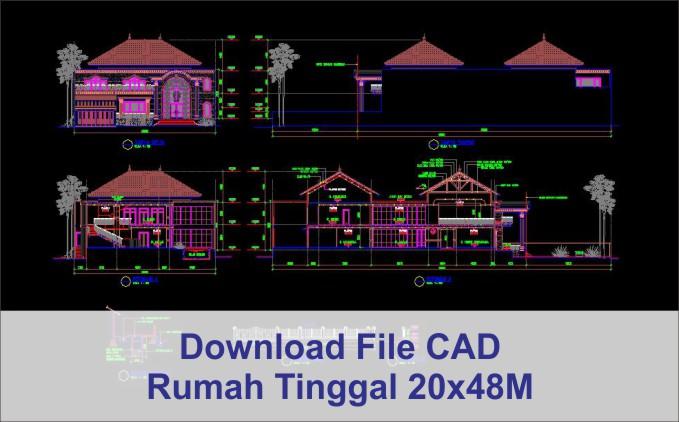 download rumah 20x48 File AutoCad