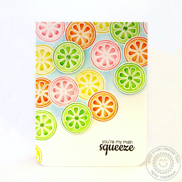 Sunny Studio Stamps: Fresh & Fruity Citrus Card by Mendi Yoshikawa