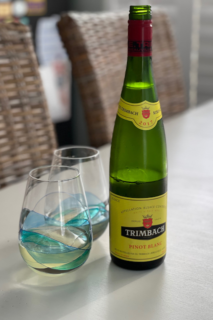 Tall bottle of Trimbach white wine