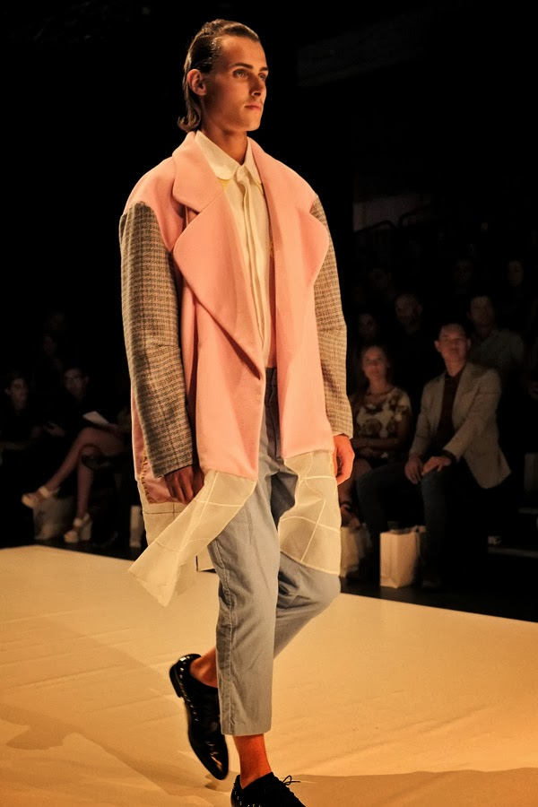 Vivienne Khong   Pink and great jacket over white flowing shirt and grey pants - Menswear : Raffles Graduate Fashion Parade 2013 Photography by Kent Johnson.