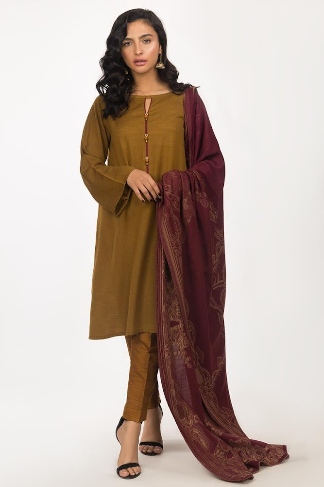 Gul Ahmed 2 piece viscose suit with Maroon shawl Brown color winter pret collection