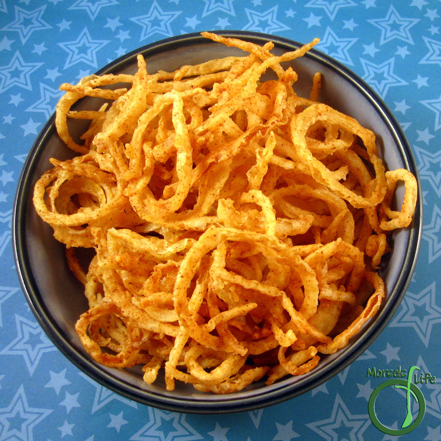 Morsels of Life - TOnion Strings - A tasty 4 ingredient recipe for simply delectable and crunchy onion strings.