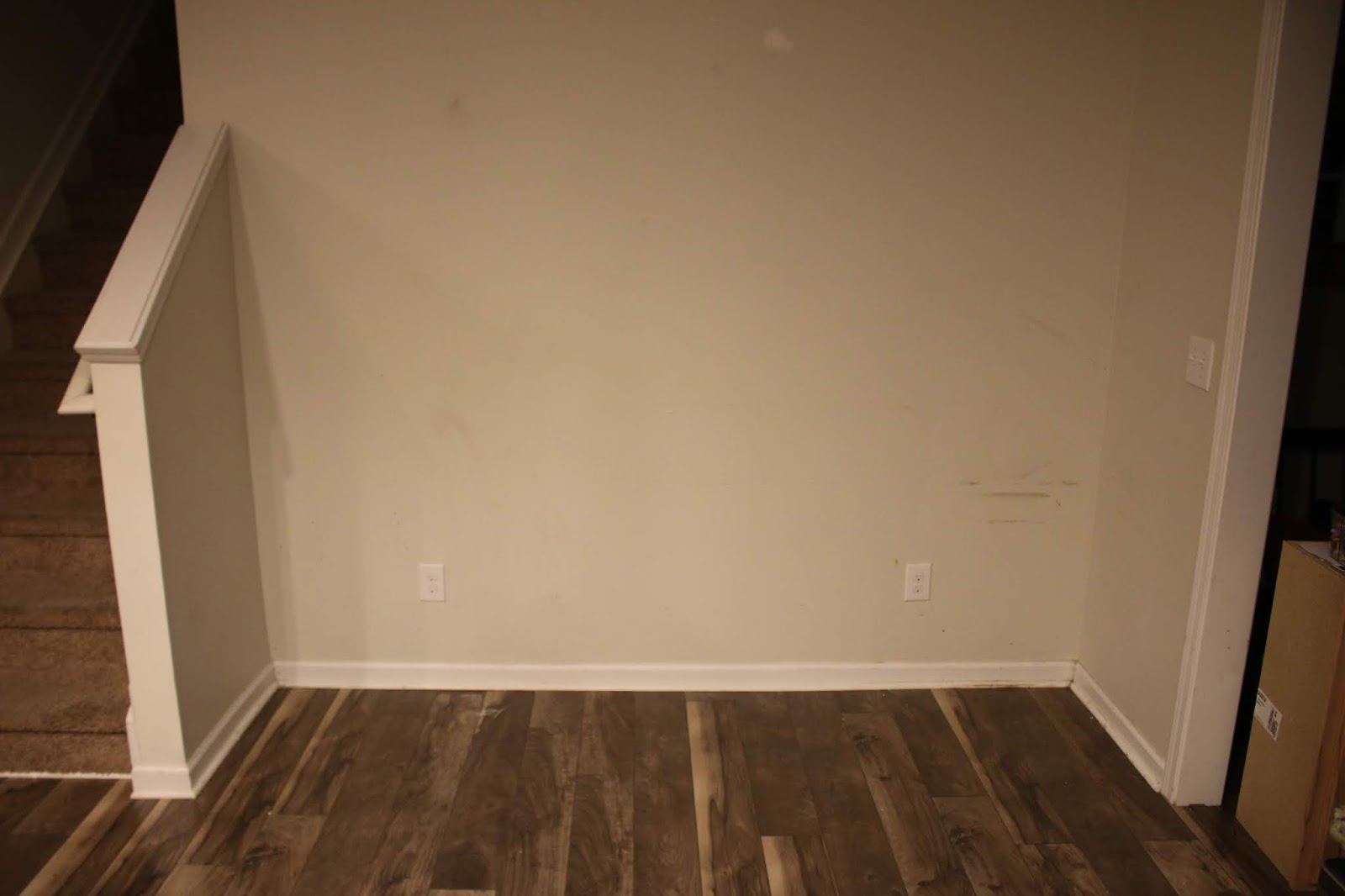 blank wall in kitchen before turning into an office nook