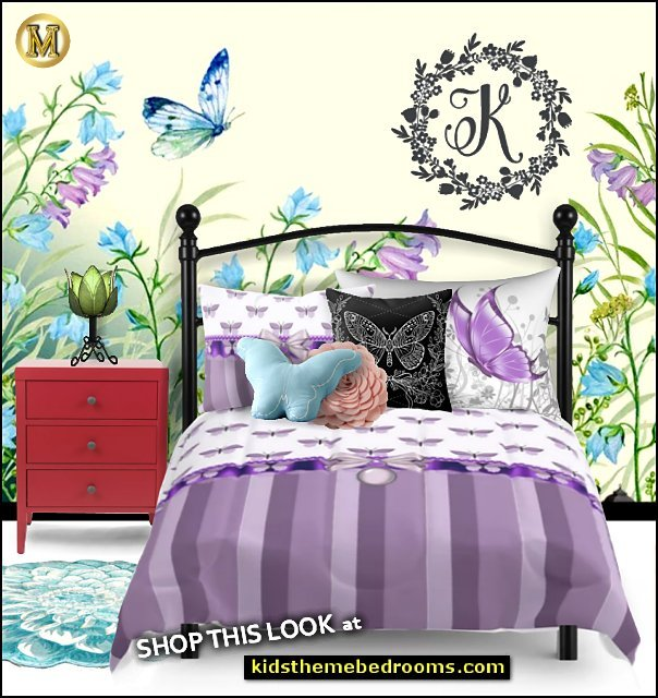 BUTTERFLY  garden bedding   flower table lamp butterfly pillows flower shaped pillows butterfly garden wallpaper mural butterfly flowers bedding