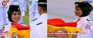 adalah gadis anggun kelahiran Jakarta yang bertugas sebagai pembawa baki bendera merah put  Biodata Lengkap Rani Noerinsan, Pembawa Baki di Upacara Penurunan Bendera Pusaka HUT RI ke-70 di Istana Merdeka