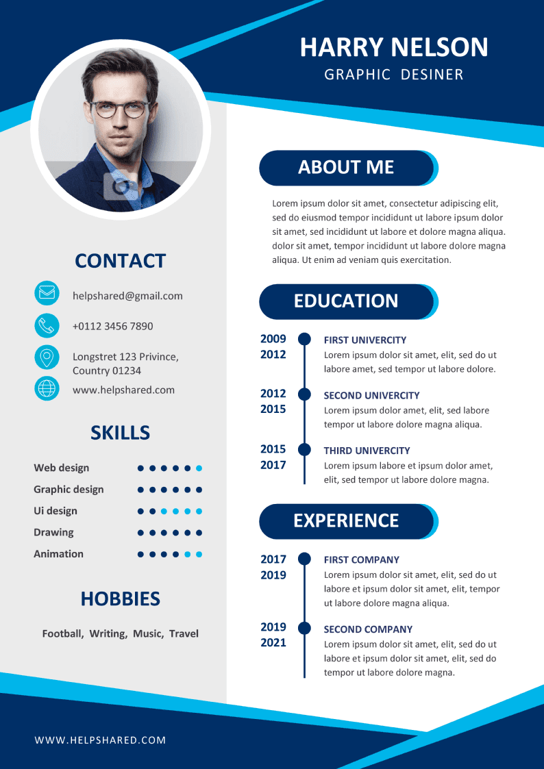 curriculum cv template with flat design 1