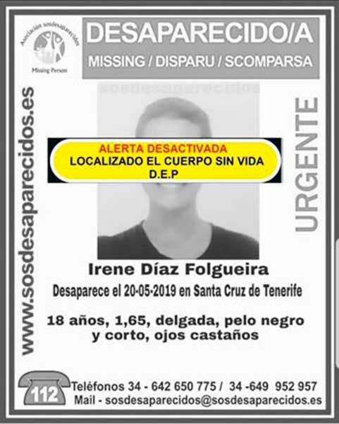 encontrada muerta la joven Irene Díaz Folgueira santa cruz de tenerife