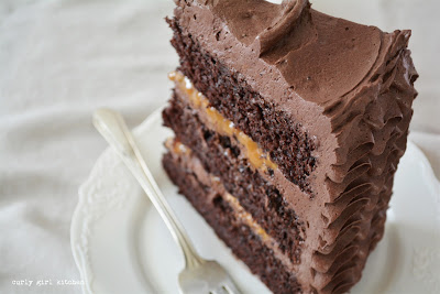 Chocolate Caramel Toffee Cake, Chocolate Cake with Toffee, Chocolate Buttercream, Ruffle Cake, High Altitude Chocolate Cake, Chocolate Toffee Cake
