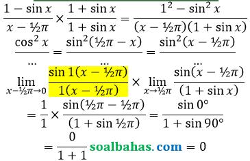 bahas limit sin per x mendekati phi