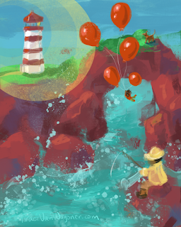 children's illustration feature the fourth of a red ballon advetnrue by Traci Van Wagoner