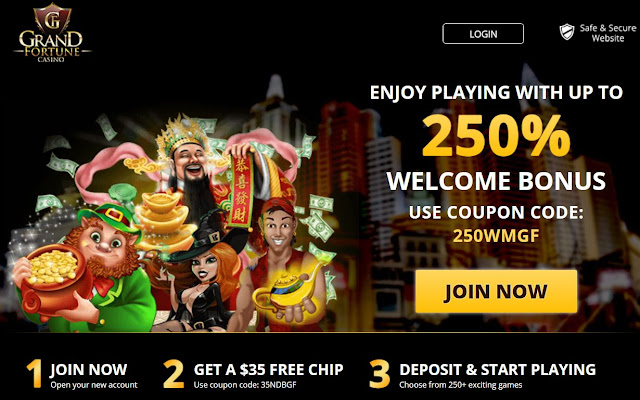 Grand Fortune Casino: $35 FREE and 250% Welcome Bonus