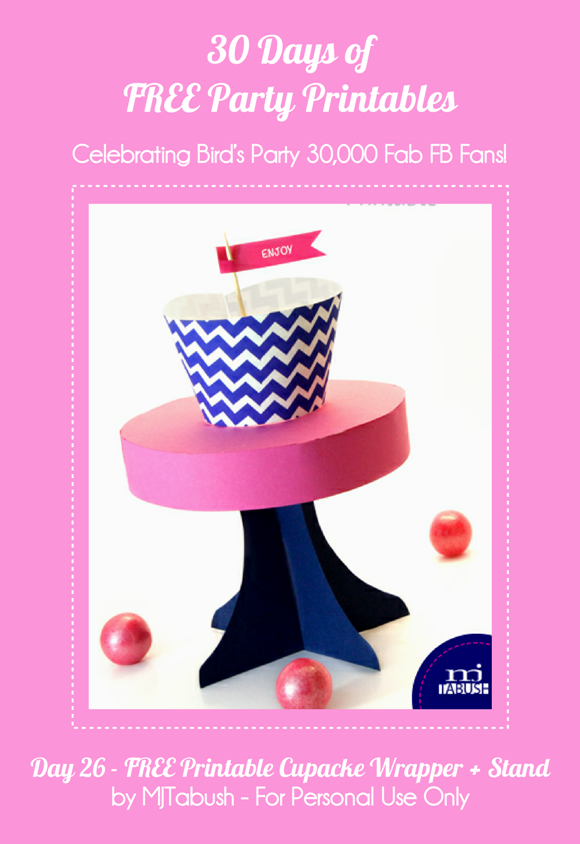 Free Printable Chevron Cupcake Wrappers - via BirdsParty.com
