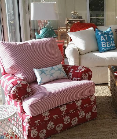 Upholstered Red Lobster Print Chair