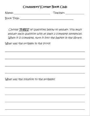 Reproducible counselors book corner work sheet for checked out SEL books.