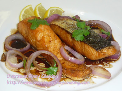 Fried Salmon Pinoy Bistek Style