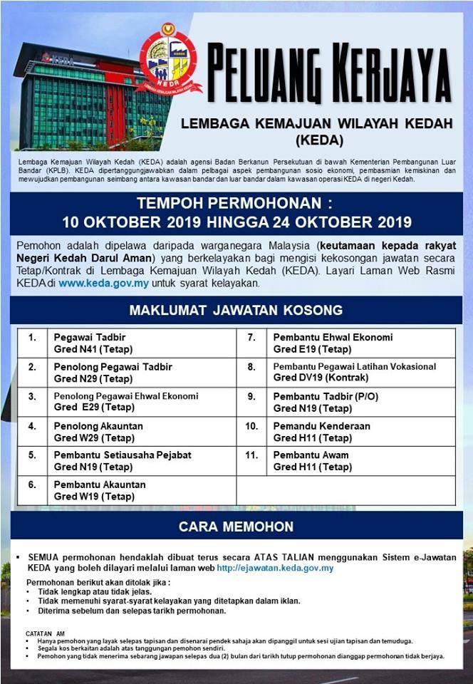 Jawatan Kosong Terkini di Lembaga Kemajuan Wilayah Kedah (KEDA).