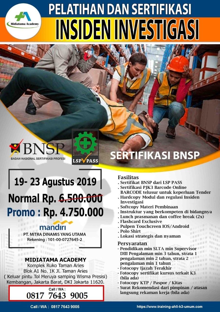 Investigasi Kecelakaan BNSP tgl. 19-23 Agustus 2019 di Jakarta