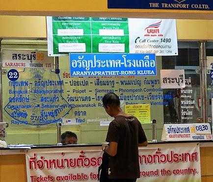 Bus counter for Cambodia at Mo Chit terminal in Bangkok