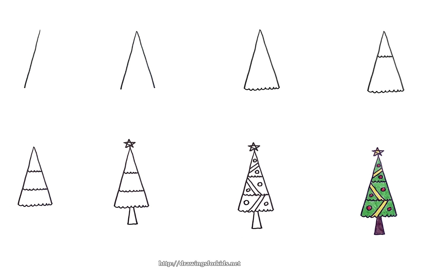 How To Draw A Christmas Tree Step By Step For Beginners.How To Draw A Christmas Tree For Kids Step By Step