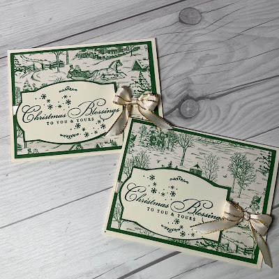 Two handmade Christmas Cards with Garden Green Printed Paper