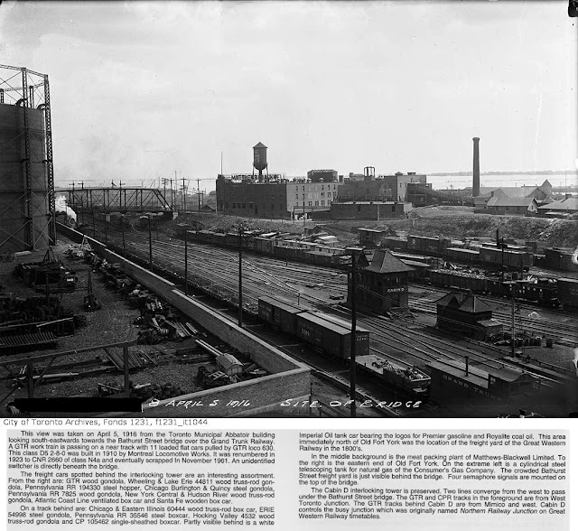 View of eastern end of Fort York towards the Bathurst Street Bridge, and the Matthews Blackwell packing plant, 1916