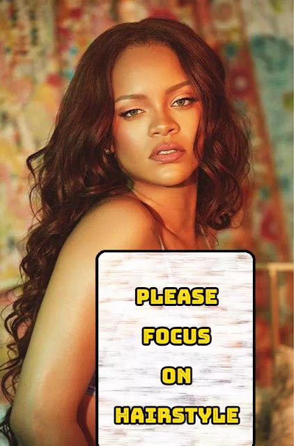 Rihanna long hair with curl