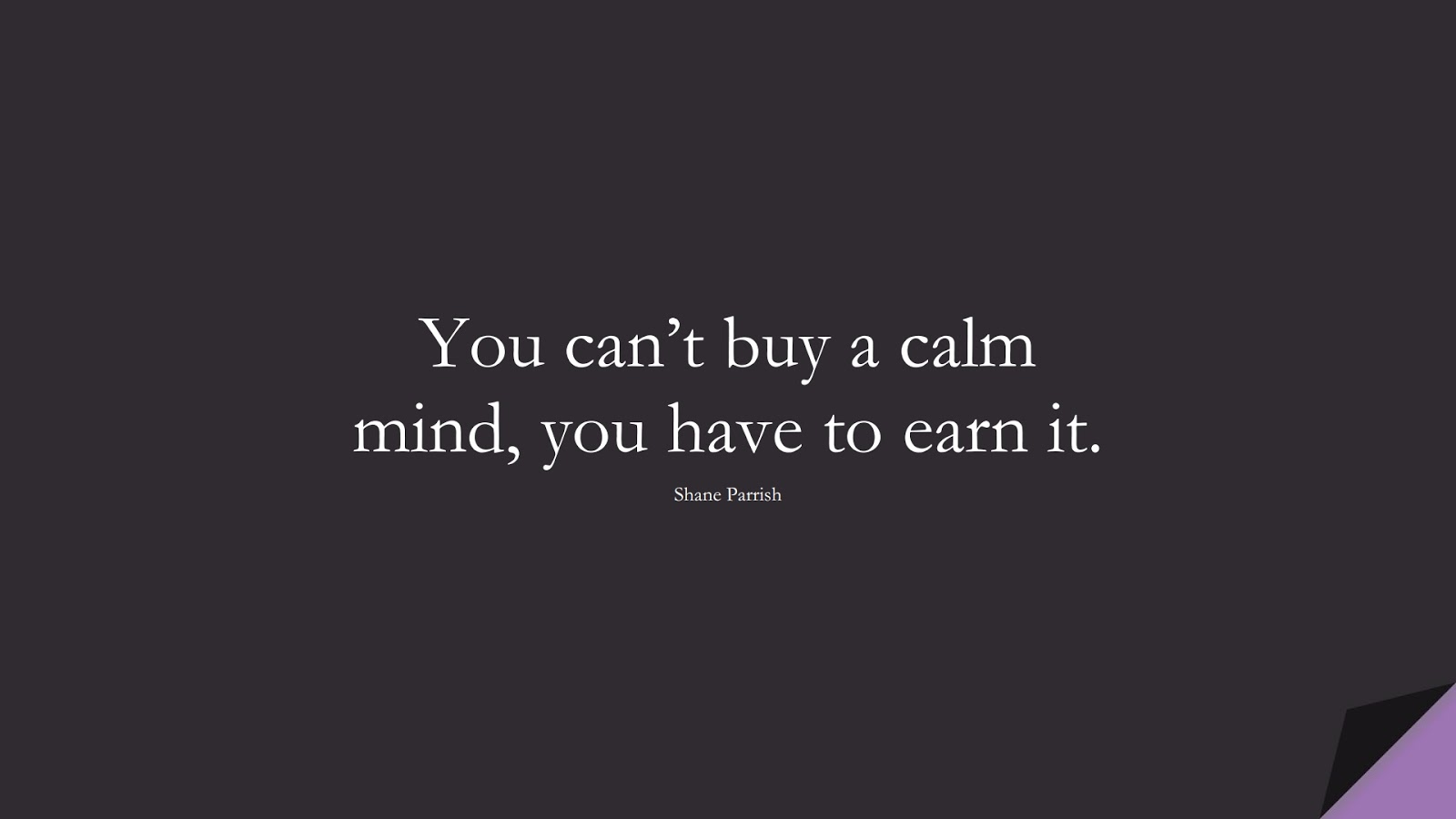 You can't buy a calm mind, you have to earn it. (Shane Parrish);  #CalmQuotes
