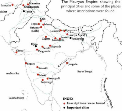 Mauryan Empire: Important Cities and Inscription Sites