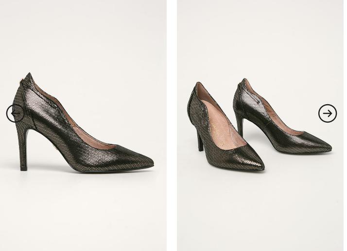 Pantofi dama de zii de piele naturala negrii-aurii la reducere