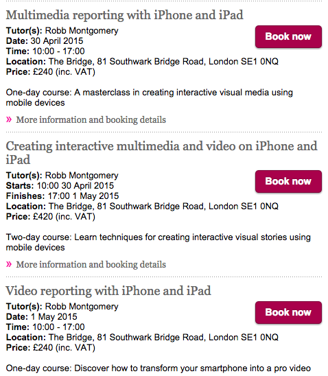 LONDON: Video and multimedia workshops for mobile journalism and content marketing